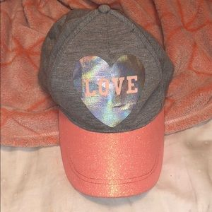 Other - Holographic LOVE hat w glittery bill